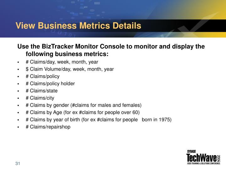 View Business Metrics Details