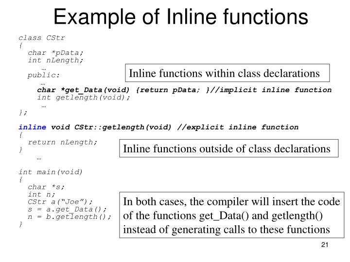 Example of Inline functions