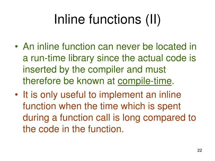Inline functions (II)