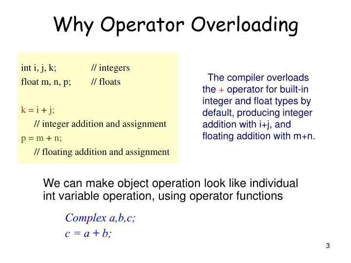 Why operator overloading