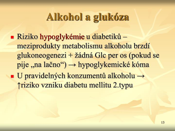 Alkohol a glukza