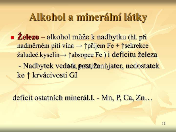 Alkohol a minerální látky