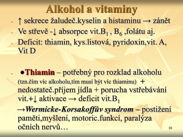 Alkohol a vitaminy