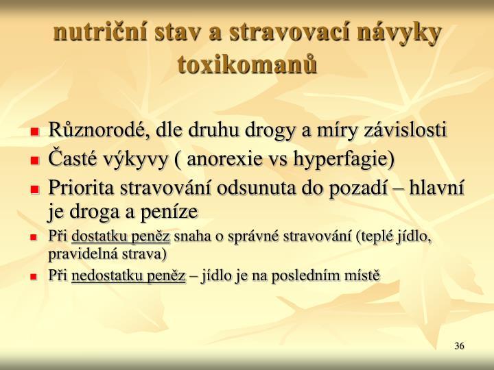 nutrin stav a stravovac nvyky toxikoman