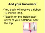 add your bookmark