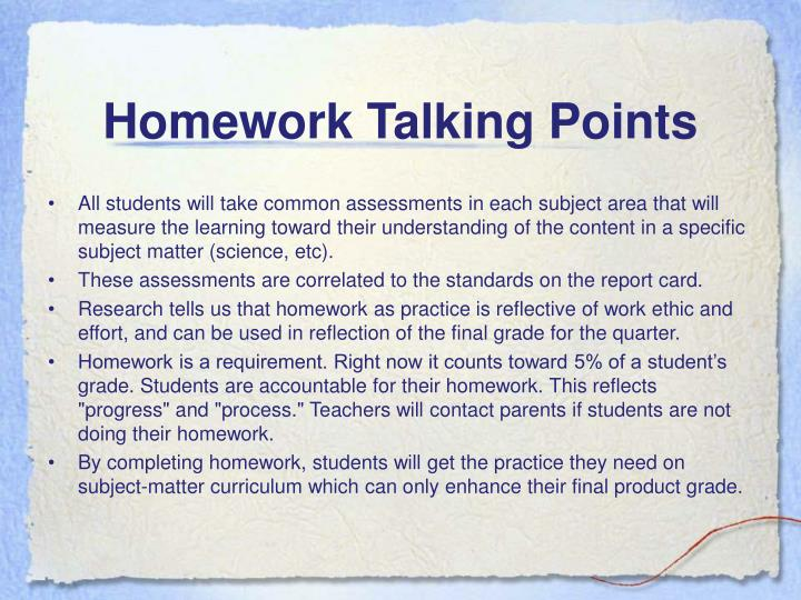 Homework Talking Points