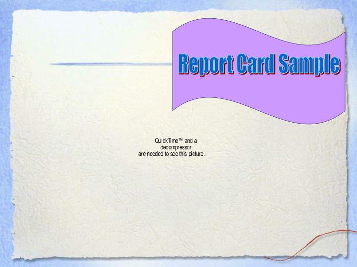 Report Card Sample