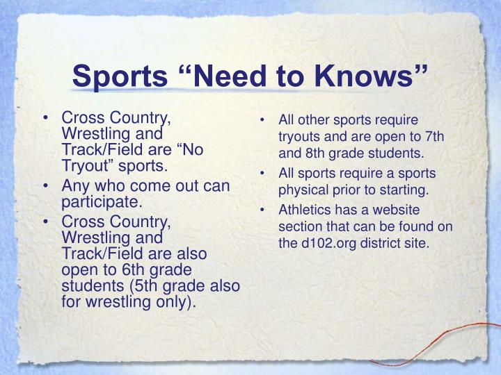 "Cross Country, Wrestling and Track/Field are ""No Tryout"" sports."