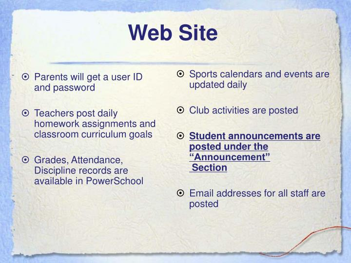 Parents will get a user ID and password