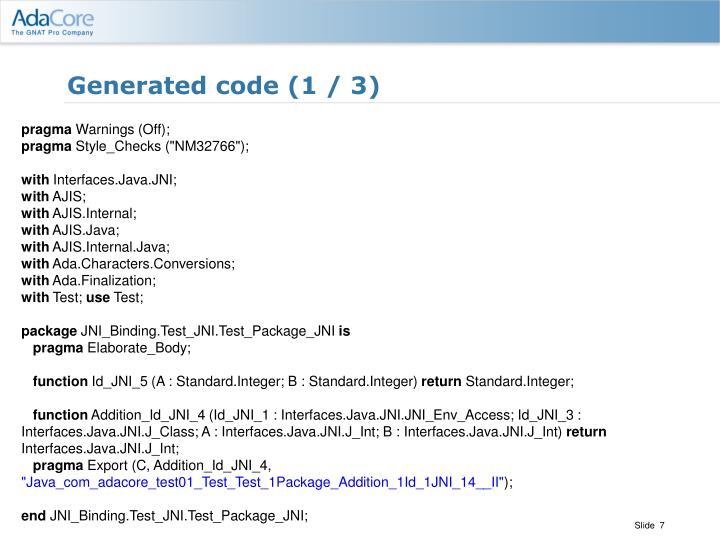Generated code (1 / 3)