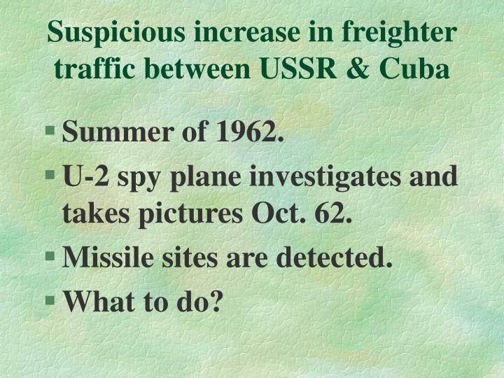Suspicious increase in freighter traffic between USSR & Cuba