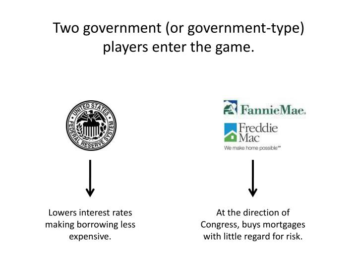 Two government (or government-type) players enter the game.