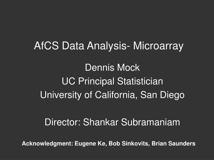 AfCS Data Analysis- Microarray