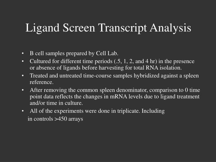 Ligand screen transcript analysis