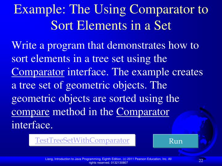 Example: The Using Comparator to Sort Elements in a Set