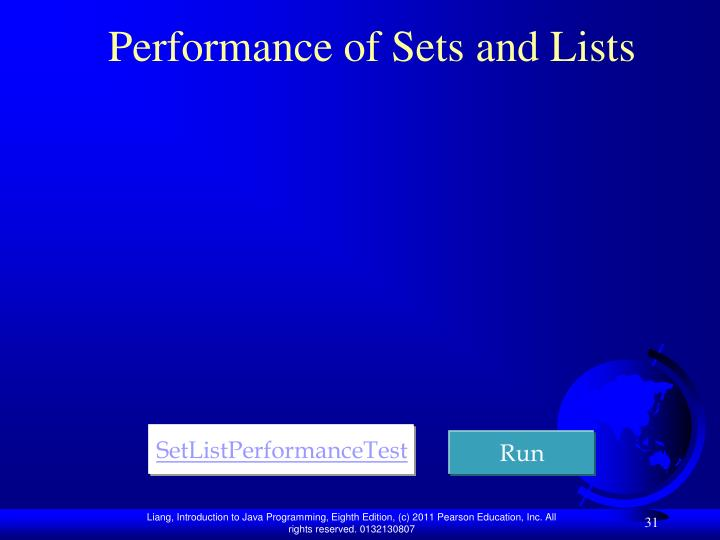 Performance of Sets and Lists