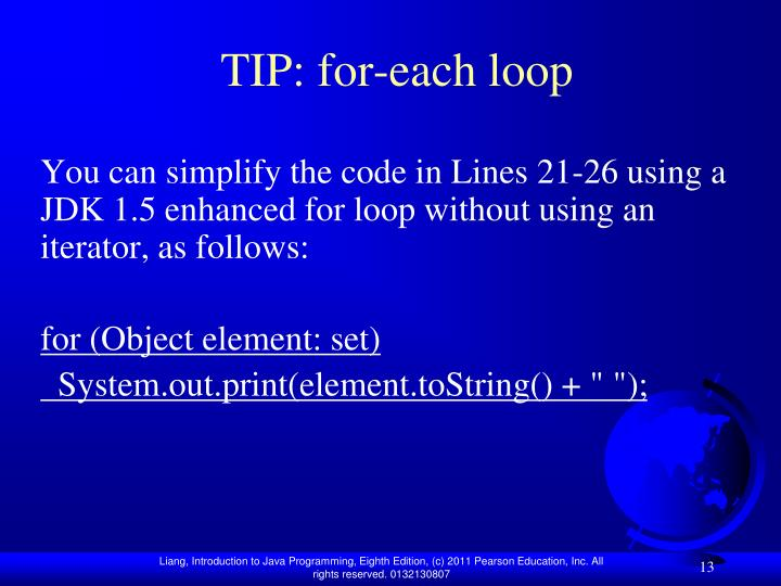 TIP: for-each loop