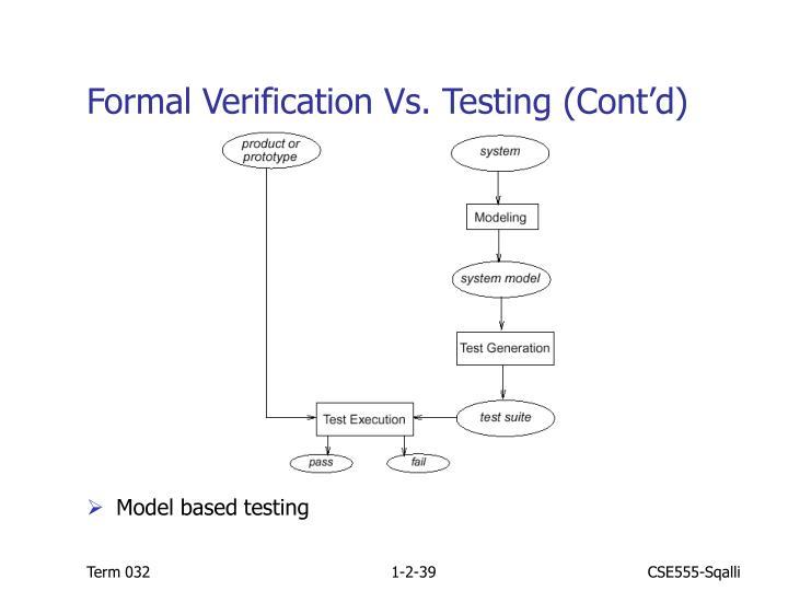 Formal Verification Vs. Testing (Cont'd)