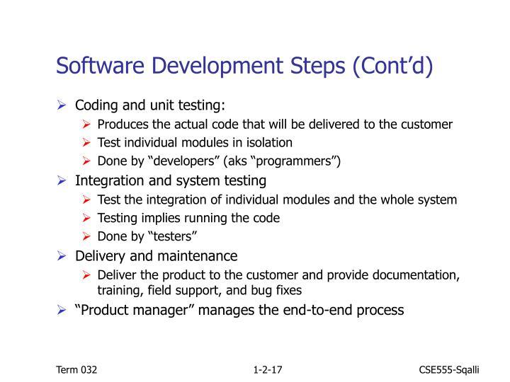 Software Development Steps (Cont'd)