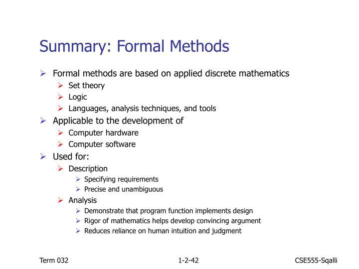 Summary: Formal Methods