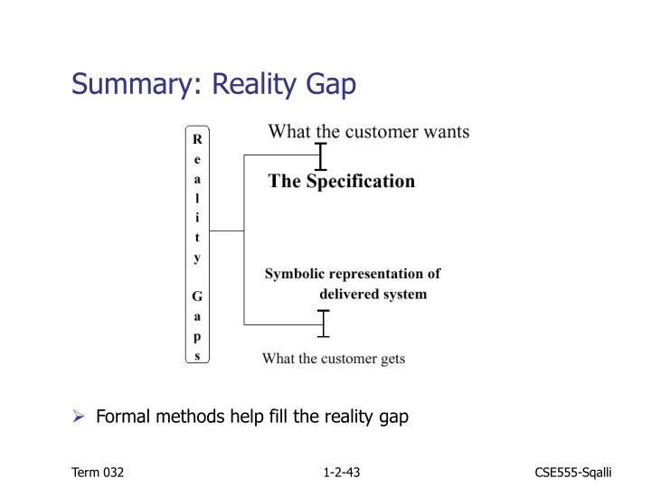 Summary: Reality Gap