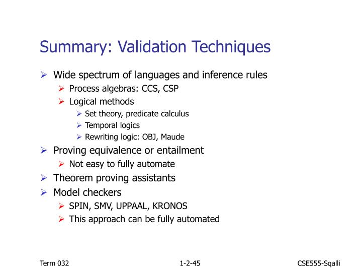 Summary: Validation Techniques