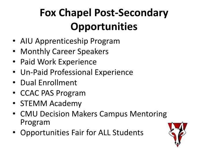 Fox Chapel Post-Secondary Opportunities