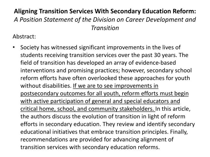 Aligning Transition Services With Secondary Education Reform: