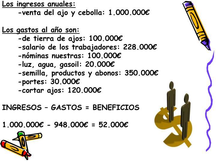 Los ingresos anuales: