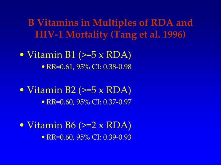 B Vitamins in Multiples of RDA and HIV-1 Mortality (Tang et al. 1996)