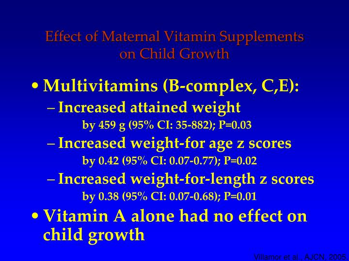 Effect of Maternal Vitamin Supplements