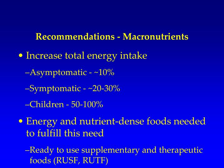 Recommendations - Macronutrients