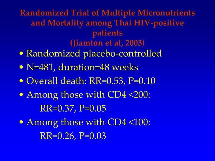 Randomized Trial of Multiple Micronutrients and Mortality among Thai HIV-positive patients