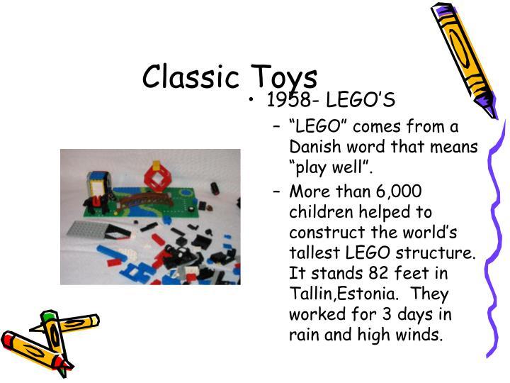 1958- LEGO'S