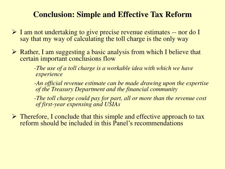 Conclusion: Simple and Effective Tax Reform