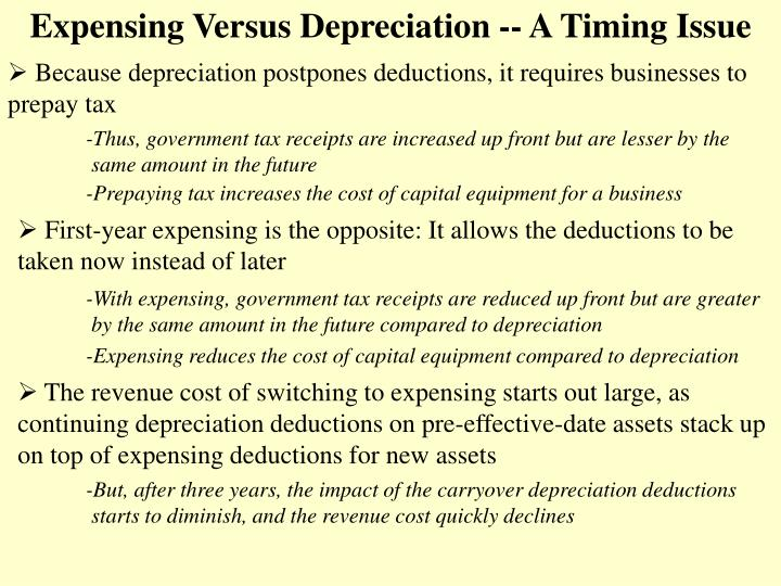 Expensing Versus Depreciation -- A Timing Issue