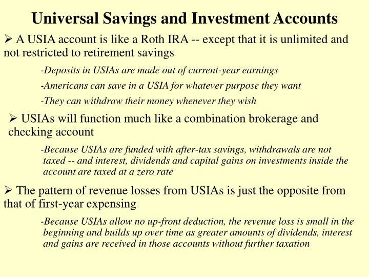 Universal Savings and Investment Accounts