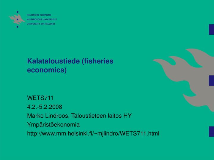 Kalataloustiede fisheries economics