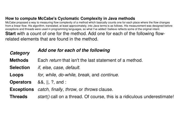 How to compute McCabe's Cyclomatic Complexity in Java methods