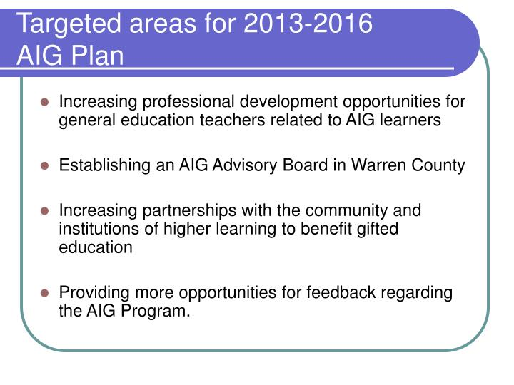 Targeted areas for 2013-2016