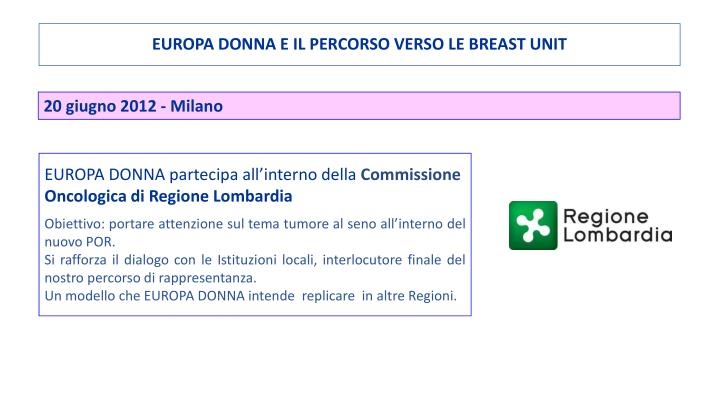 EUROPA DONNA E IL PERCORSO VERSO LE BREAST UNIT