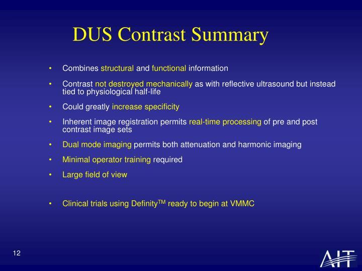 DUS Contrast Summary