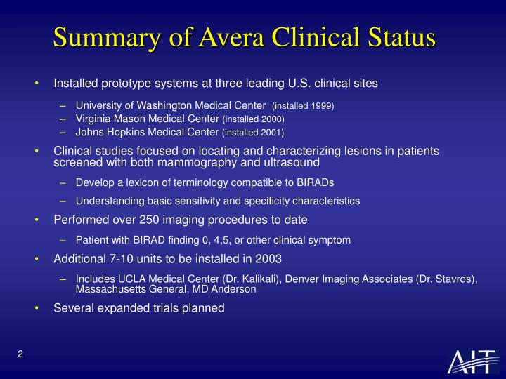 Summary of avera clinical status