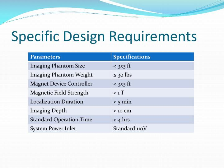 Specific design requirements