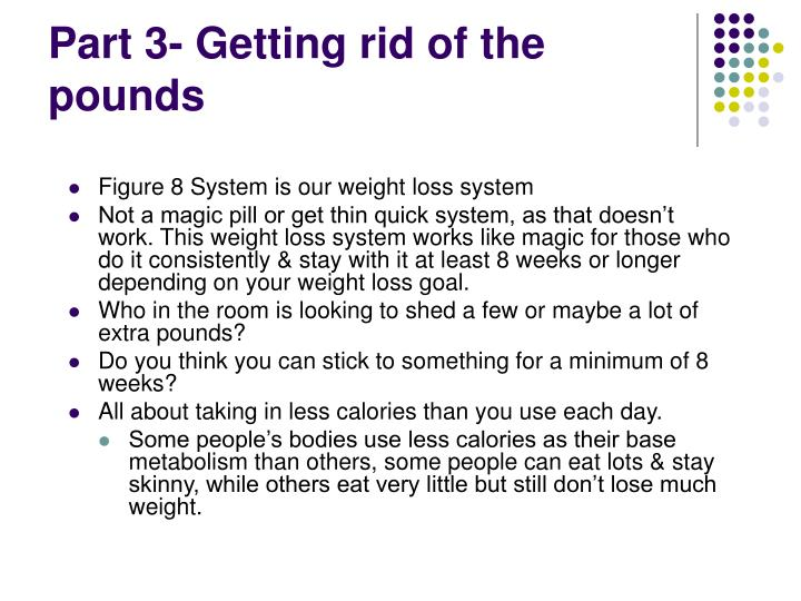 Part 3- Getting rid of the pounds