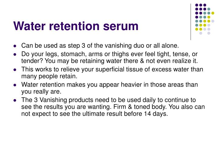 Water retention serum