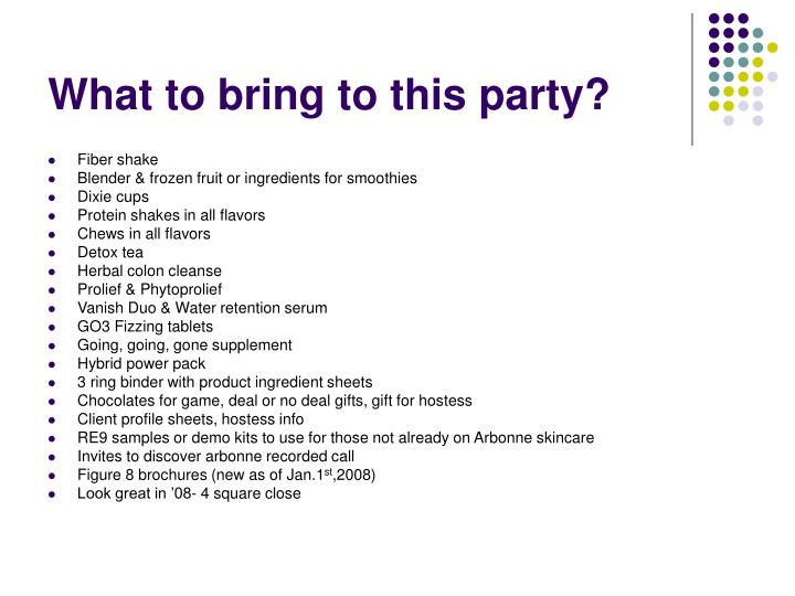 What to bring to this party