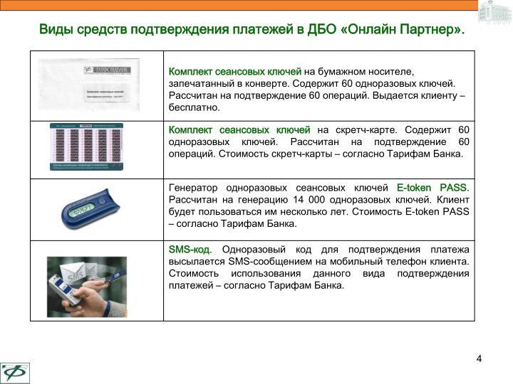 Виды средств подтверждения платежей в ДБО «Онлайн Партнер».