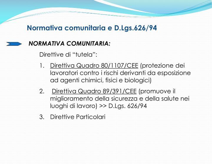Normativa comunitaria e D.Lgs