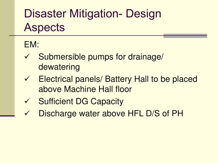 Disaster Mitigation- Design Aspects